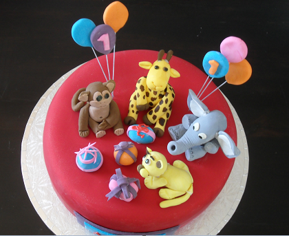 Child's Novelty Cake with Fondant Animals