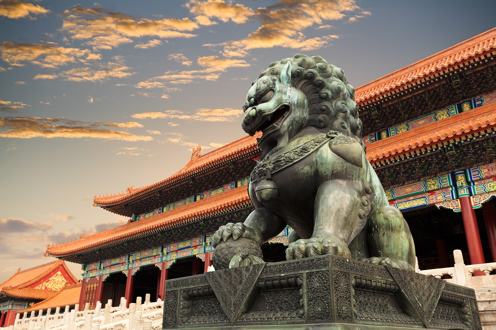 Image of Forbidden City and Lion Statue