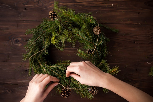 Making a wreath from conifer branches