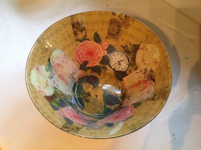 Lynn Walter Decoupage Glass Bowl