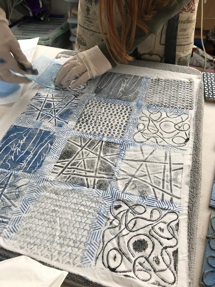 Lesley Pearce block printing