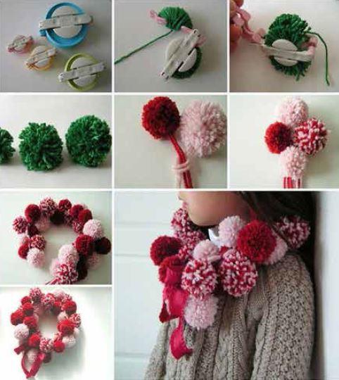 Make a pom pom scarf