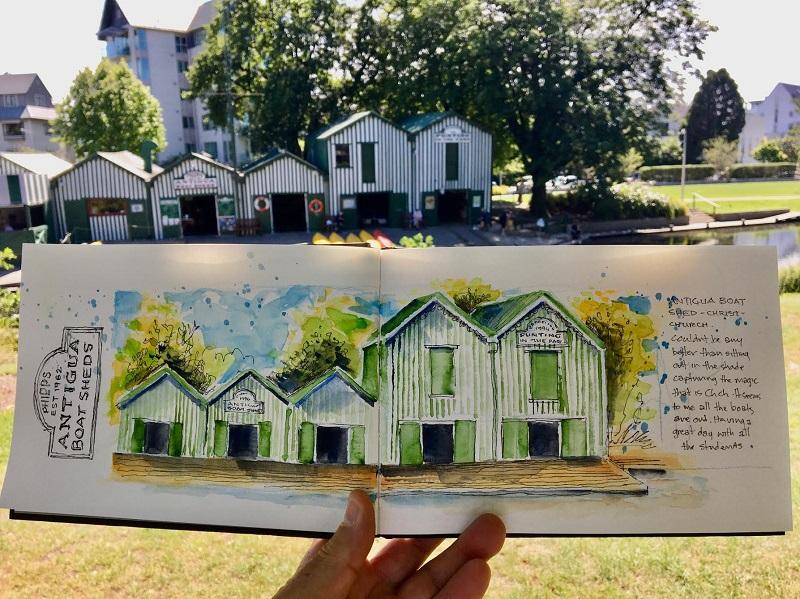 Peter Burt illustration of Christchurch boat sheds