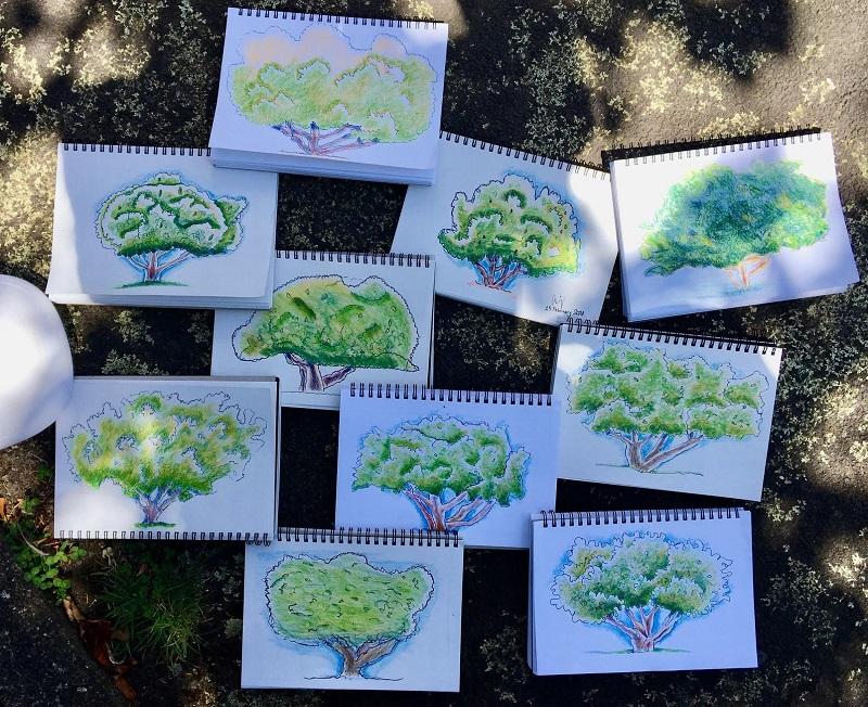 Art class practising trees