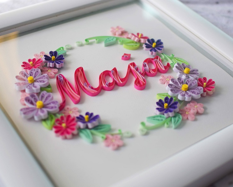 Paper Quilling - name Maja on cake