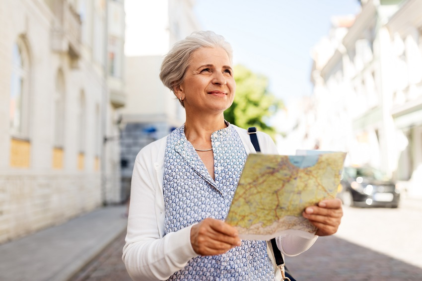 Solo Woman Travel Woman with Map