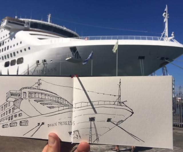 Cruise liner Sketching in the City with Tony McNeight via Selwyn Community Education