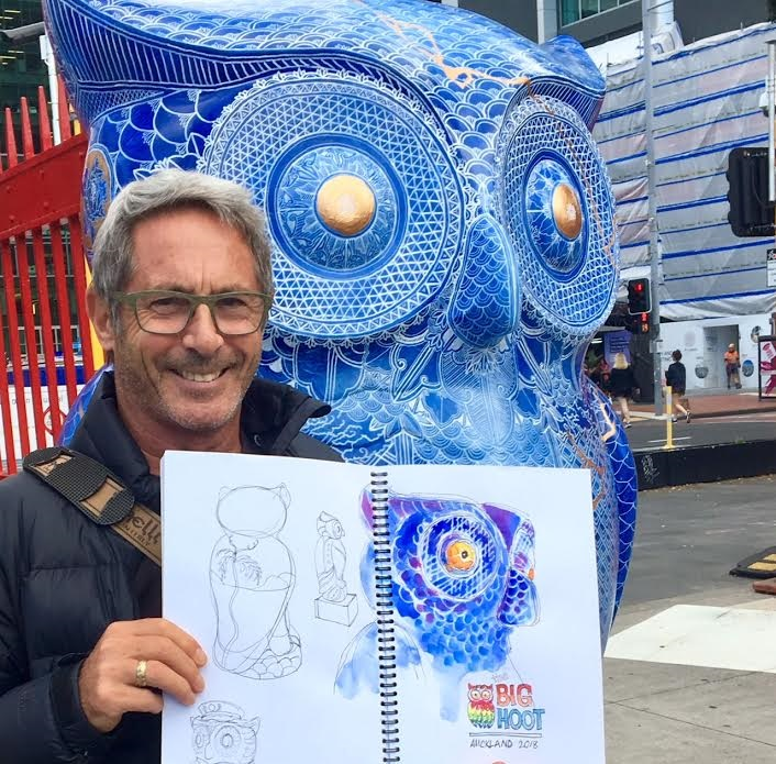 Tony McNeight with owl and drawing