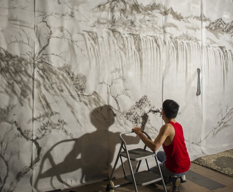 Wei Lun Ha Installation for Artweek Parnell Learn Zen Brush Painting Landscapes at Selwyn Community Education